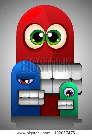 Colorful Creatures, Red Blue Green Monsters, Big Eyes Teeth, vector illustration