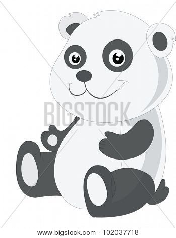 Baby panda, black and white, smiling, vector illustration