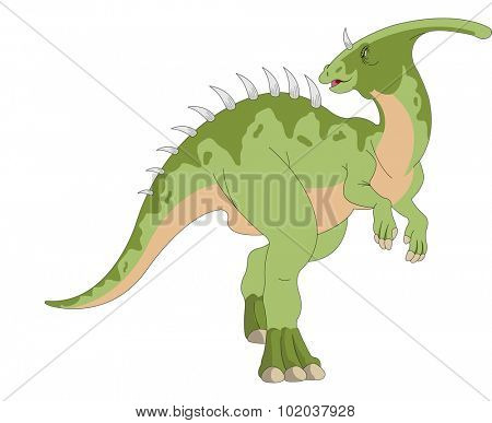 Dinosaur, Green, Horned and Spiked, vector illustration