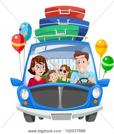 Family Vacation, Car with Luggage and Balloons, vector illustration