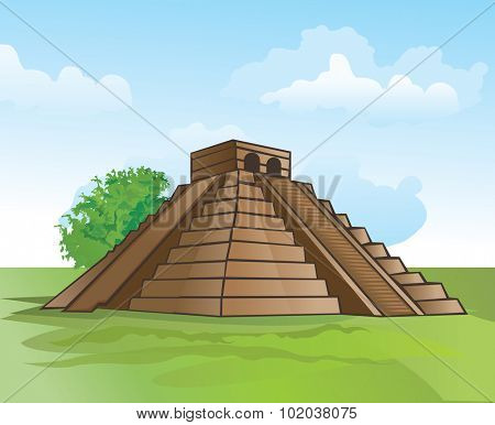Mayan pyramid, amidst lush greenery and a blue sky, vector illustration