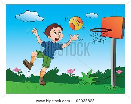 Boy Playing Basketball, vector illustration
