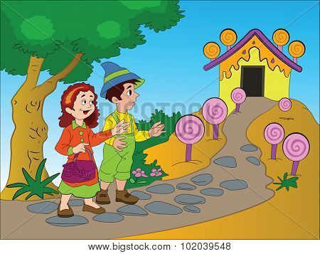 Hansel and Gretel Finding a Gingerbread House, vector illustration