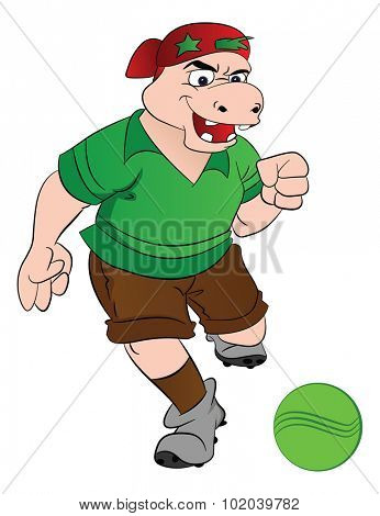 Humanoid Hippo Playing Soccer, vector illustration