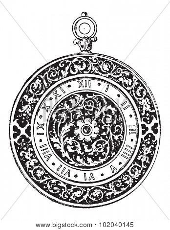 Watch Dial, German-made, during the 16th century, vintage engraved illustration. Dictionary of Words and Things - Larive and Fleury - 1895