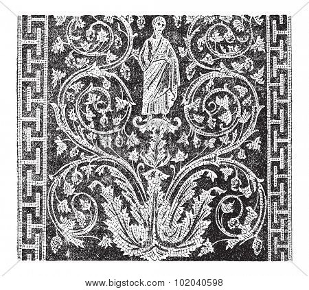 Mosaic, in the Mausoleum of Galla Placidia in Ravenna, Italy, during the 5th century, showing a human figure, vines and lines. Dictionary of Words and Things - Larive and Fleury - 1895
