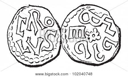 Coin Currency, during the Carolingian Dynasty, vintage engraved illustration. Dictionary of Words and Things - Larive and Fleury - 1895