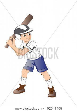 Boy Playing Baseball, vector illustration