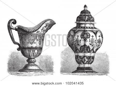 Various Earthenwares, found in Rouen, France, vintage engraved illustration. Le Magasin Pittoresque - 1874