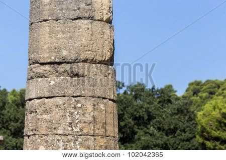 Remains Of Corinthian Column In Olympia, Greece
