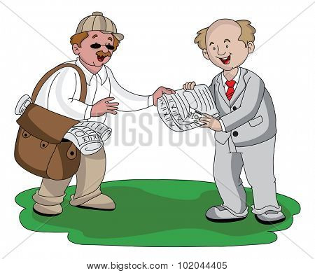 Vector illustration of vendor receiving money for selling newspaper.