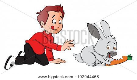 Vector illustration of boy sticking out tongue and hungrily looking at rabbit eating carrot.