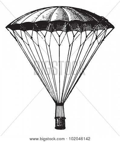 Parachute, vintage engraved illustration. Dictionary of words and things - Larive and Fleury - 1895. poster