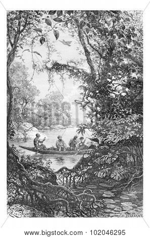 Reconnaissance at the Entrance of a Creek in Oiapoque, Brazil, drawing by Riou from a sketch by Dr. Crevaux, vintage engraved illustration. Le Tour du Monde, Travel Journal, 1880