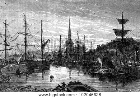 Docks and the church of St. Mary Redcliffe, vintage engraved illustration. Journal des Voyage, Travel Journal, (1880-81).