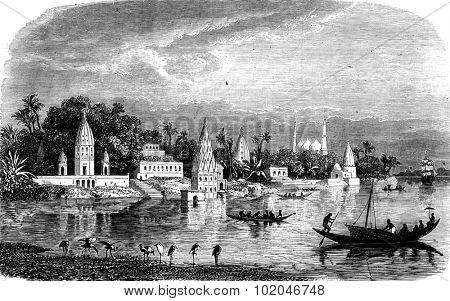View of Benares, vintage engraved illustration. Journal des Voyage, Travel Journal, (1880-81).