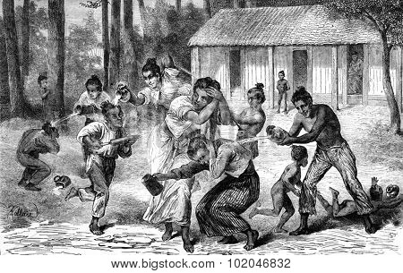 The 1st game of the year in Burmese, a battle shots syringe, vintage engraved illustration. Journal des Voyage, Travel Journal, (1880-81).