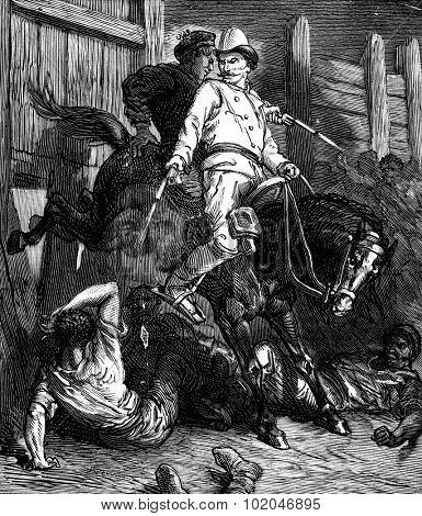 Bandits of the sea dada began to kick harder, vintage engraved illustration. Journal des Voyages, Travel Journal, (1879-80).