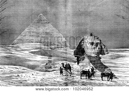 Through egypt. The Pyramids of Giza, vintage engraved illustration. Journal des Voyage, Travel Journal, (1880-81).