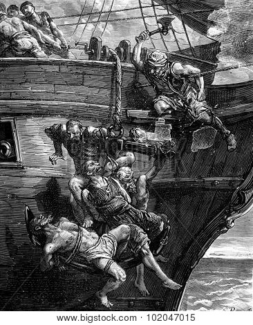 A pirate. The anchor sank, taking with it the human cluster, vintage engraved illustration. Journal des Voyages, Travel Journal, (1879-80).