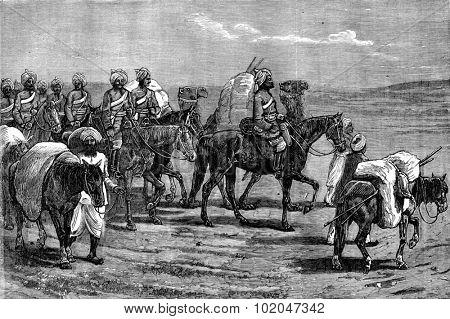 Afghanistan. Riders of the Indian contingent, vintage engraved illustration. Journal des Voyages, Travel Journal, (1879-80).