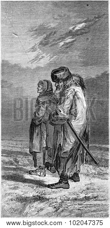 A farmer and his wife in winter suit (Livonia), vintage engraved illustration. Le Tour du Monde, Travel Journal, (1865).