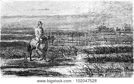 Russian voyage (Livonia), vintage engraved illustration. Le Tour du Monde, Travel Journal, (1865).