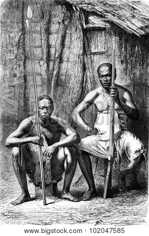 Bakalai warriors, vintage engraved illustration. Le Tour du Monde, Travel Journal, (1865).