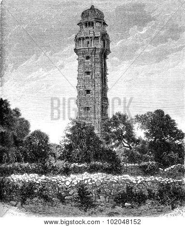 Vijay Stambha. - Tower of Victory in Chittorgarh, vintage engraved illustration. Le Tour du Monde, Travel Journal, (1872).