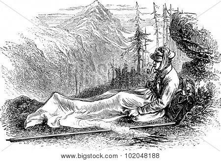 M.Whymper in his blanket-bag, vintage engraved illustration. Le Tour du Monde, Travel Journal, (1872).