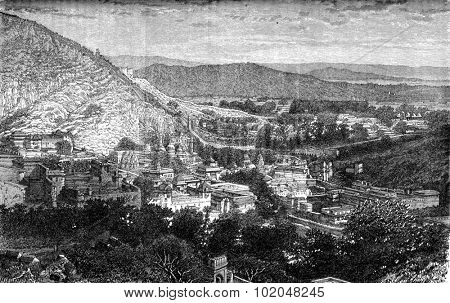 The Amber Valley, view from the Diwan Khana. vintage engraved illustration. Le Tour du Monde, Travel Journal, (1872). poster