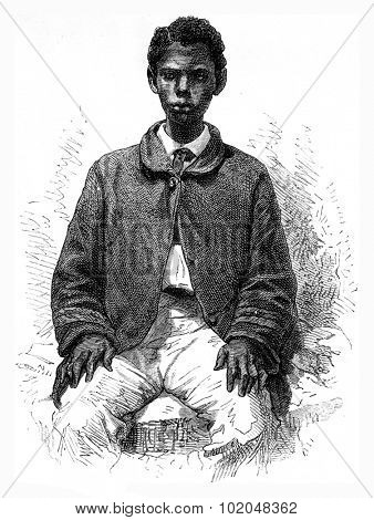 Committed Senegalese, vintage engraved illustration. Le Tour du Monde, Travel Journal, (1872).