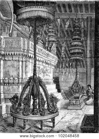 Umbrellas storey pagoda inside Laos, vintage engraved illustration. Le Tour du Monde, Travel Journal, (1872).