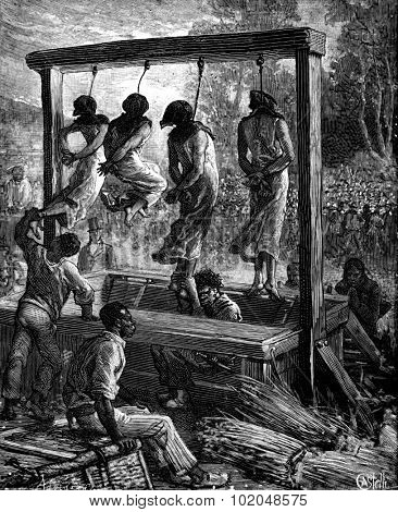 A quadruple execution in Mauritius. The executioner hung legs of each, vintage engraved illustration. Journal des Voyages, Travel Journal, (1879-80).