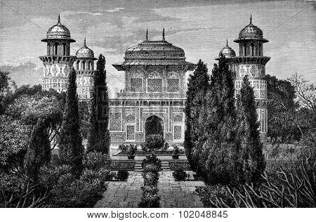 Mausoleum I'timad-ud-Daulah, in Agra, vintage engraved illustration. Le Tour du Monde, Travel Journal, (1872).  poster