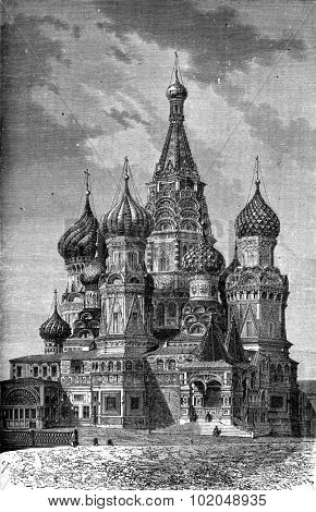 St. Basil Church on the Red Square in Moscow, vintage engraved illustration. Le Tour du Monde, Travel Journal, (1872).