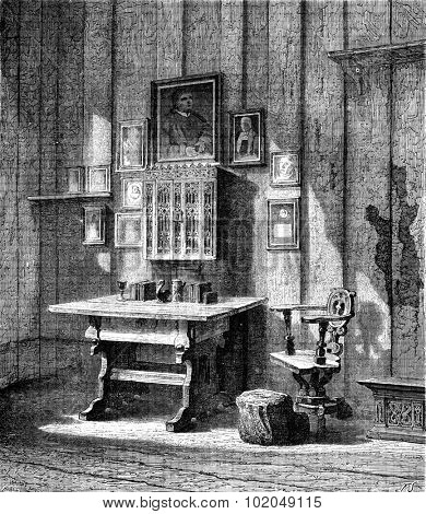 Luther's room at Wartburg,. the ink stain, vintage engraved illustration. Le Tour du Monde, Travel Journal, (1872).