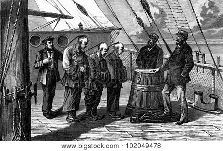 The three culprits. They were taken in the presence of the captain, vintage engraved illustration. Journal des Voyage, Travel Journal, (1879-80).