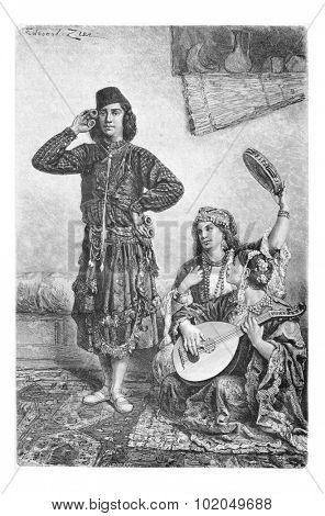 Mesopotamian Dancer and Musicians from Acre, Israel, vintage engraved illustration. Le Tour du Monde, Travel Journal, 1881 poster