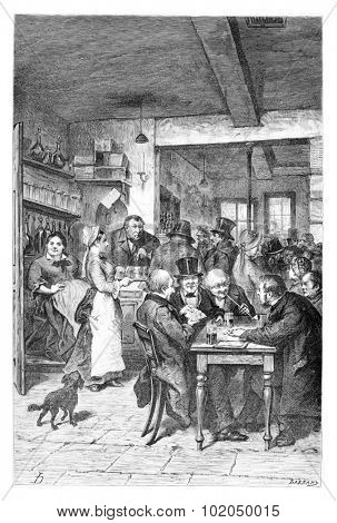 The Tavern in Brussels, Belgium, drawing by Hoese, vintage illustration. Le Tour du Monde, Travel Journal, 1881