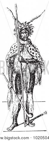 Zulu, vintage engraved illustration. Dictionary of words and things - Larive and Fleury - 1895.