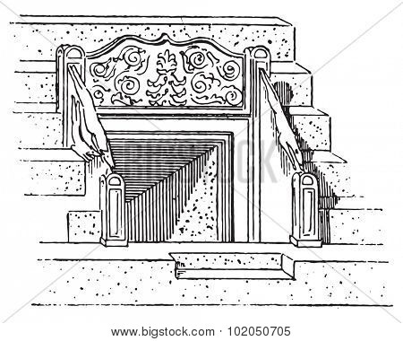 Vomitory of the Coliseum or Coloseum, vintage engraved illustration. Dictionary of words and things - Larive and Fleury - 1895.