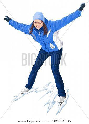 Vector illustration of woman skating on snow.