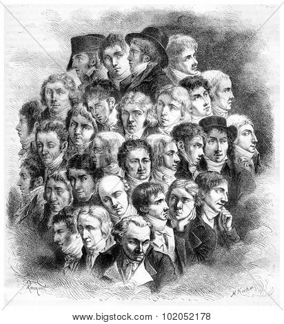 Group of artists, by Boilly, vintage engraved illustration. Magasin Pittoresque 1867.