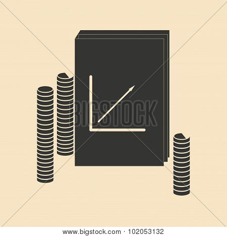 Flat in black white report and stack coins