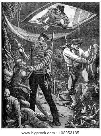 Yellow brigands, Sailors boarding the sampan, vintage engraved illustration. Journal des Voyage, Travel Journal, (1880-81).