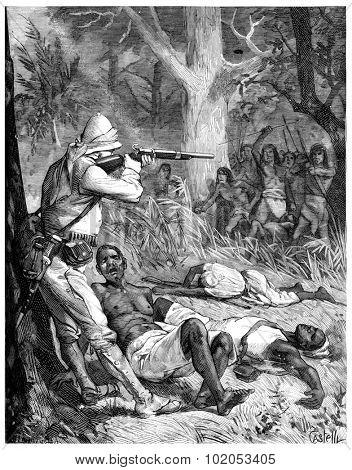 Paris of Lake Tanganyika, Like a lion, he stands still and shoot, vintage engraved illustration. Journal des Voyage, Travel Journal, (1880-81).