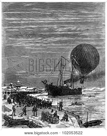 Jacques left the wharf Sitka, vintage engraved illustration. Journal des Voyage, Travel Journal, (1880-81).