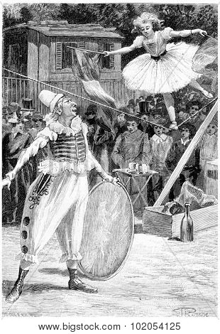Clou-de-Girofle and Napoleona, vintage engraved illustration. Jules Verne Cesar Cascabel, 1890.
