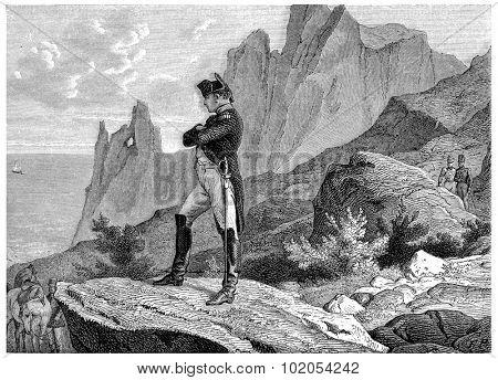 Napoleon at St. Helena, vintage engraved illustration. History of France 1885.